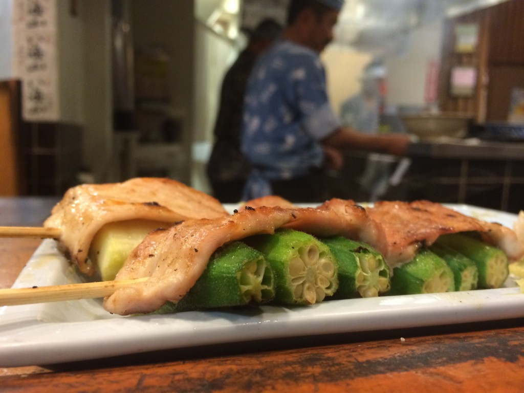 Chicken Wrapped Okra and Zucchini