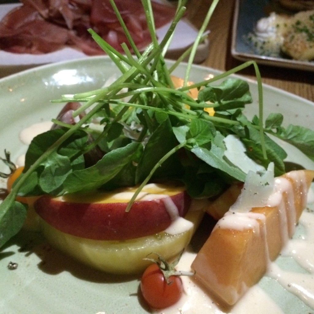Heirloom Tomato, Melon and Peach Salad with Sheeps Milk Gouda, Pickled Peach Vinaigrette and Watercress