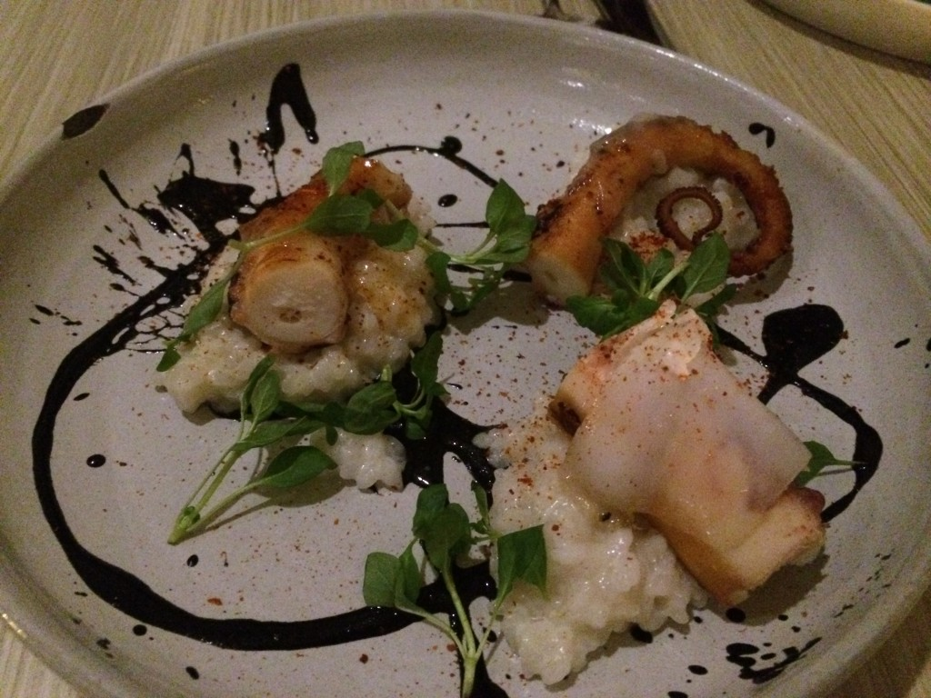 Octopus with Koshihikari Rice, Sauce Nero, Lardo and Espelette