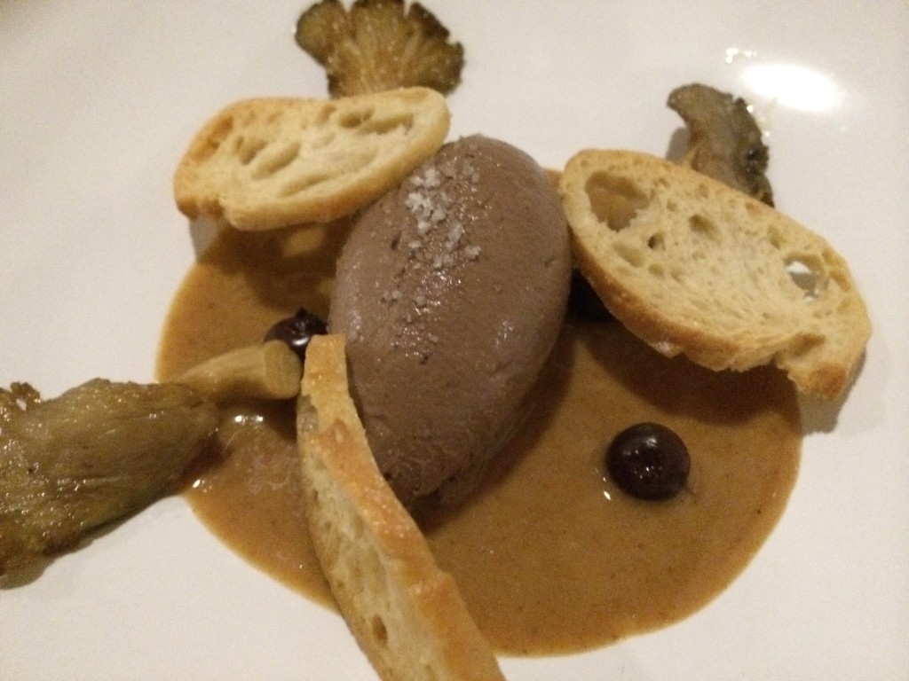 Chicken Liver Mousse with Mushroom, Hazelnut Praline, Pickled Blueberries and Toast
