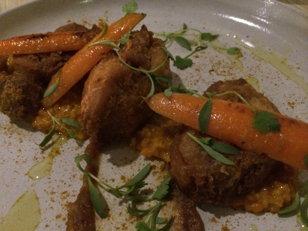 Crispy Chicken Thigh with Steelcut Oats, Carrots, Pickled Dates and Moorish Spices