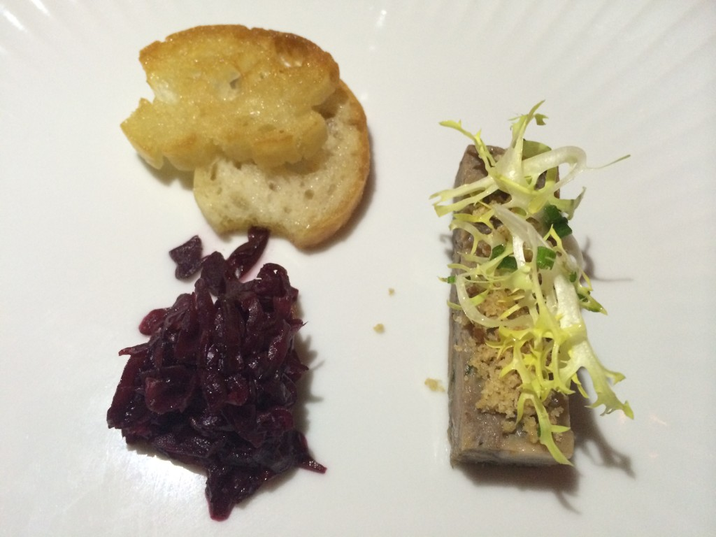 Duck Terrine with Braised Red Cabbage and Frisee