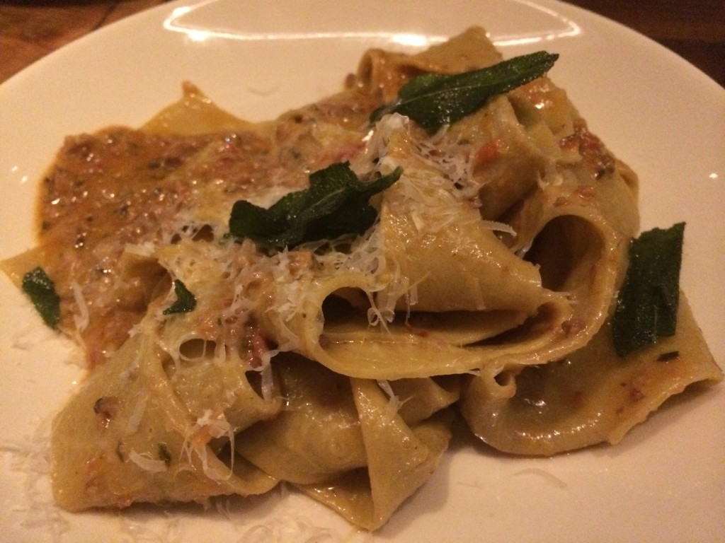 House Made Pappardelle with Pork Belly Bolognese and Fried Sage