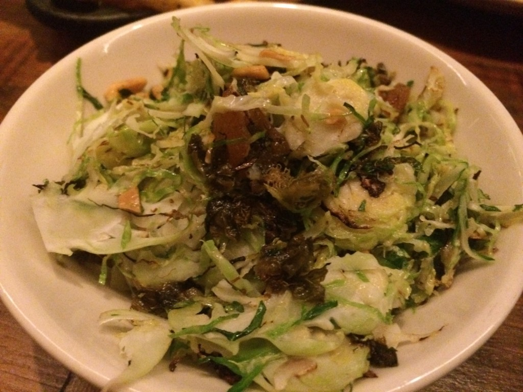 Shaved Brussels Sprouts with Roasted Almond, Caper and Dried Apricot