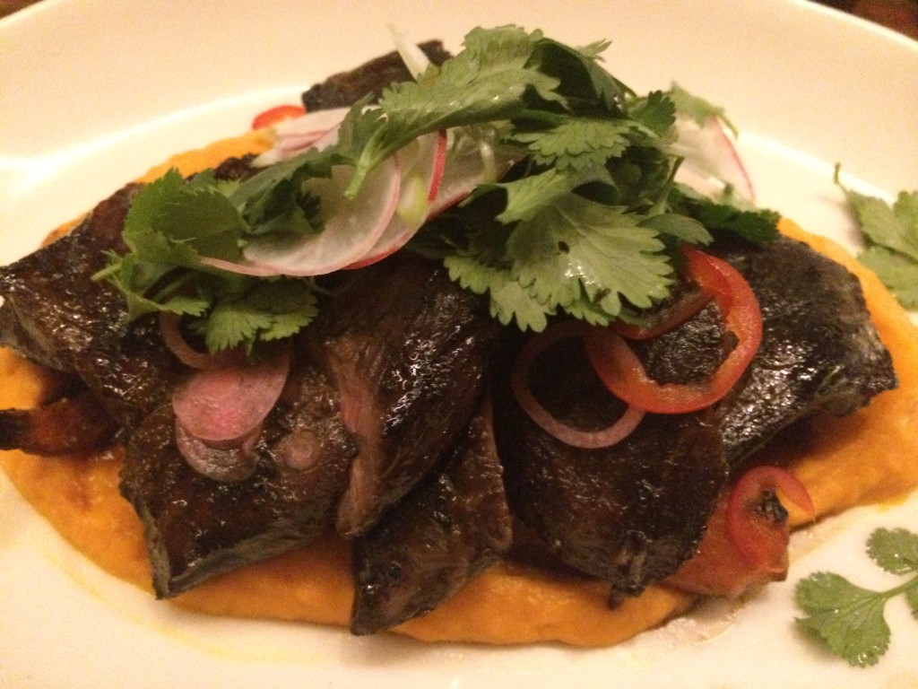 Marinated Niman Ranch Skirt Steak, Carrot Ginger Puree, Chilies, Cilantro and Radish