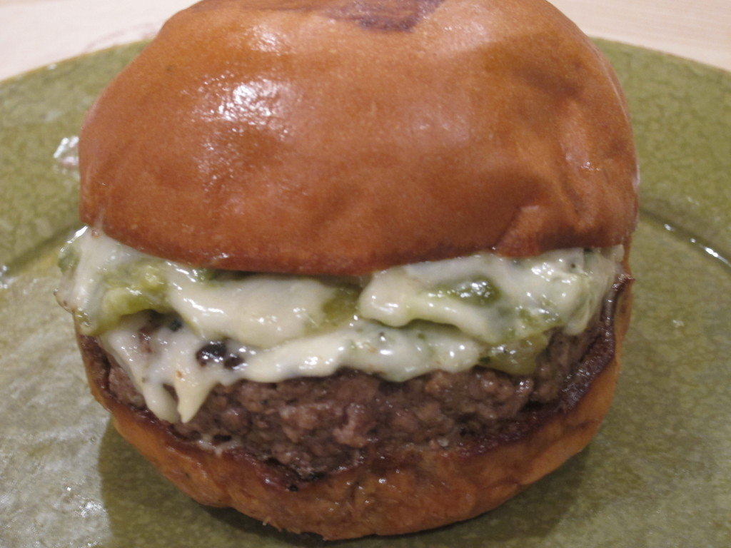 The Hatch Burger from Umami Burger with Roasted Hatch Chilies, House Cali Cheese and Roasted Garlic Aioli