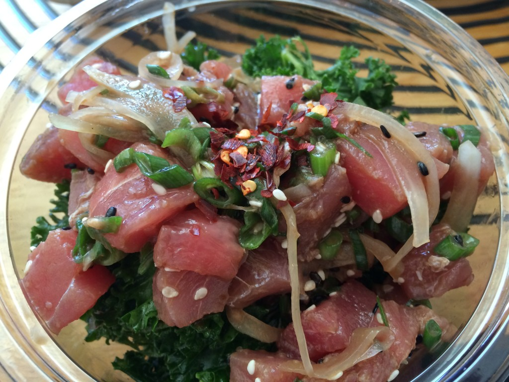 Classic Tuna Poké with Classic Sauce, White and Green Onions and Red Chile over Citrus-Kale Salad