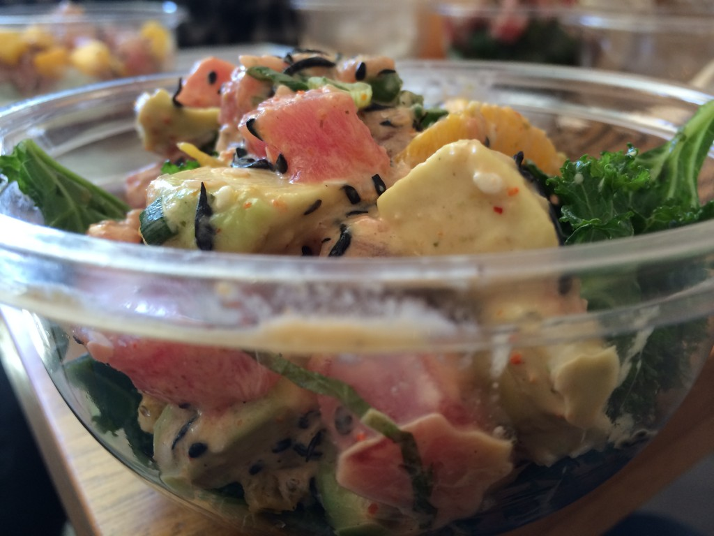 Spicy Tuna Poké with Creamy Togarashi Sauce, Hijiki, Avocado and Chile Marinated Oranges