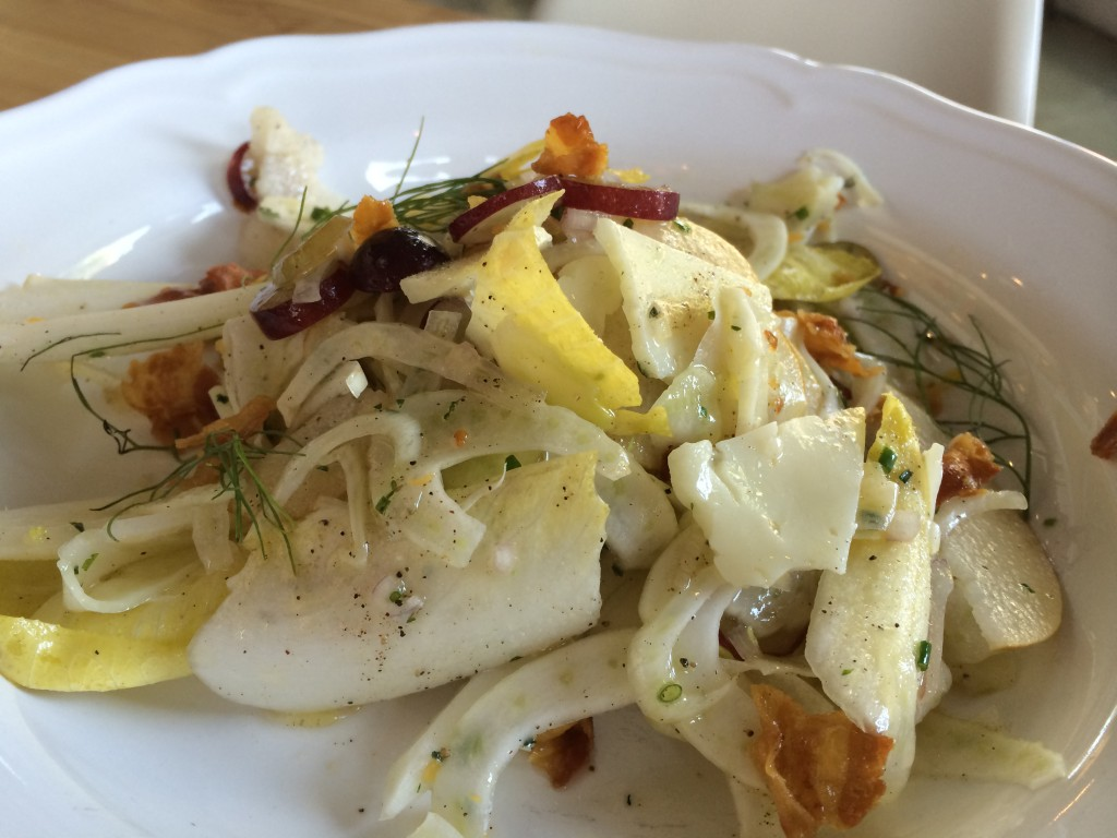 Shaved Salad with Fennel, Endive, Almonds, Pear, Manchego and Pancetta