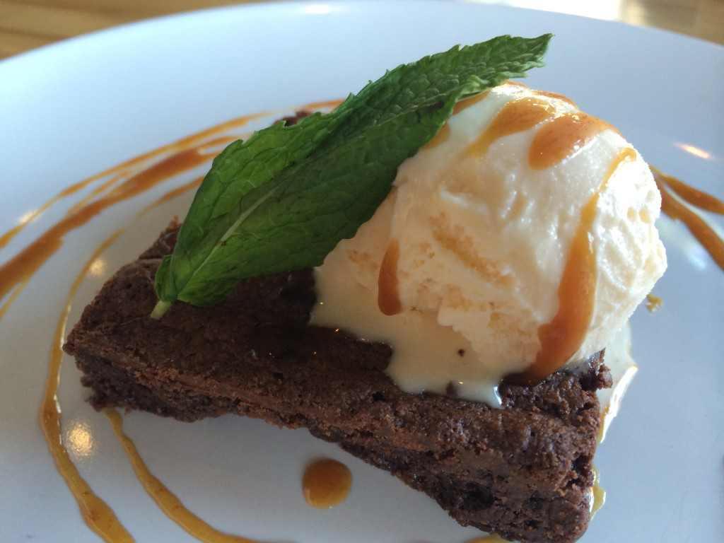 Brownie with Vanilla Ice Cream and Caramel Sauce