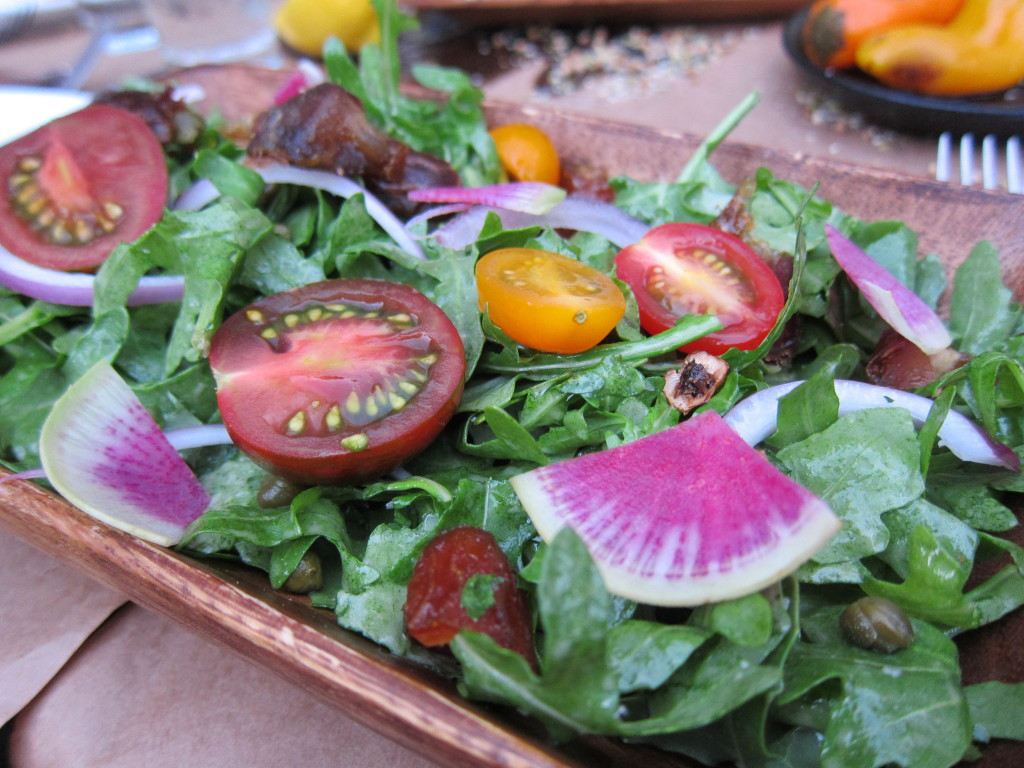 Arugula Salad with Red Onion, Cherry Tomatoes, Dates and Capers