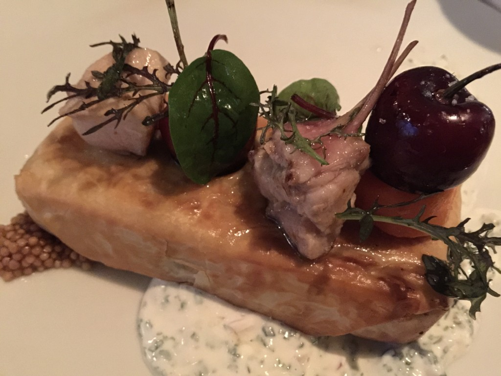 Rabbit Baklava with Bing Cherries, White Beans, Pistachios and Carrots