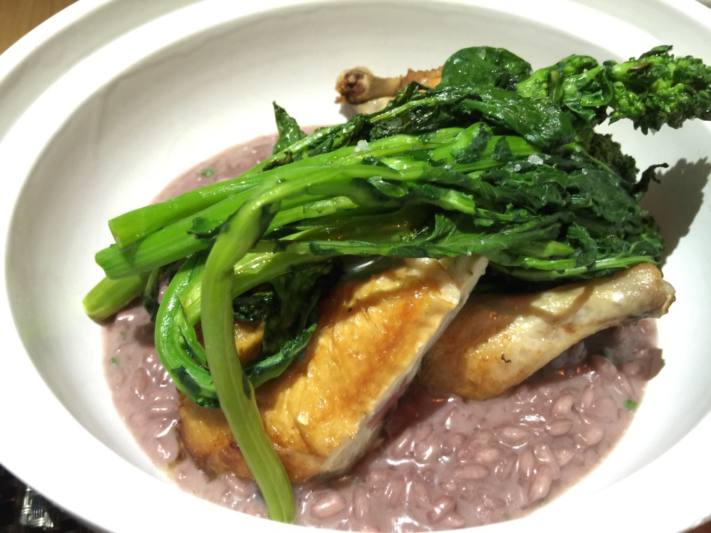 Roast Baby Chicken with Red Wine Foie Gras Risotto and Bitter Greens