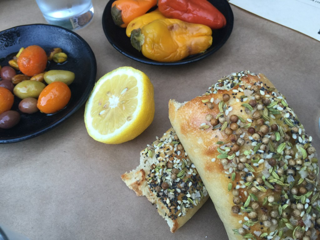 Seeded Baguette, Peppers, Olives, Kumquats and Lemon
