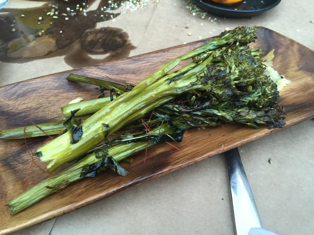Roasted Broccolini with Chili and Garlic Chips