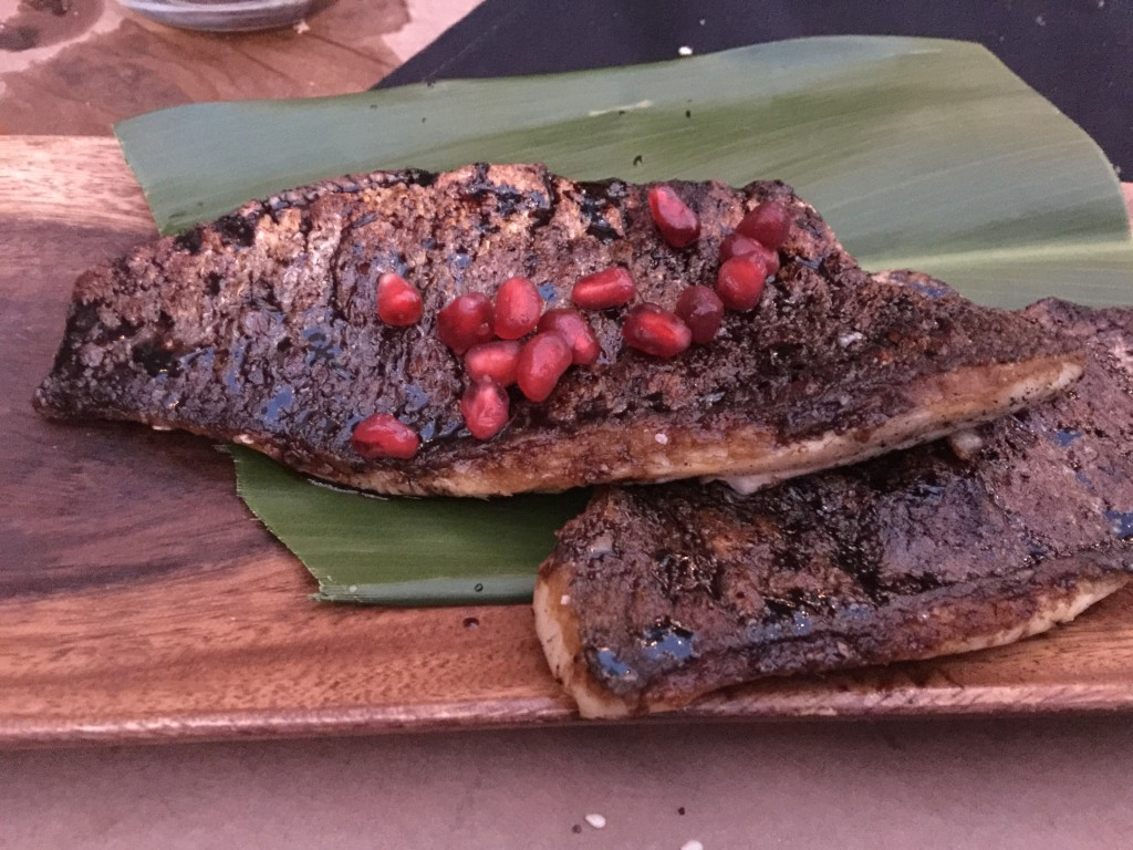 Branzino with Fig Pomegranate Sauce