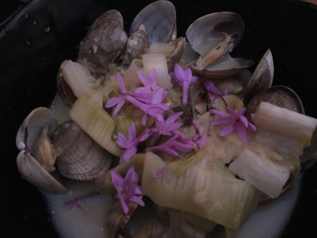 Manila Clams in a Leek and White Wine Broth