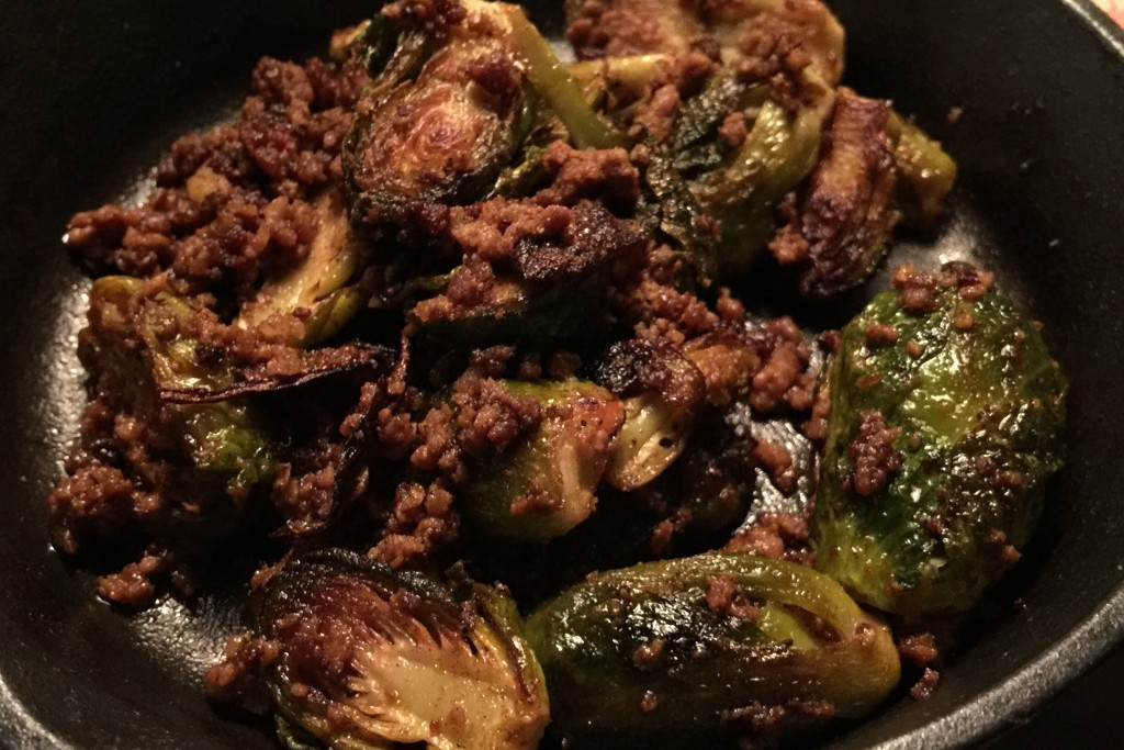 Roasted Brussels Sprouts with House Chorizo, Tequila & Apple Cider Vinegar