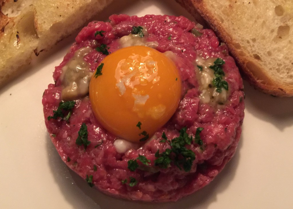 Beef Tartare with Smoked Oysters, Cornichons, Shallot & Belcampo Yolk