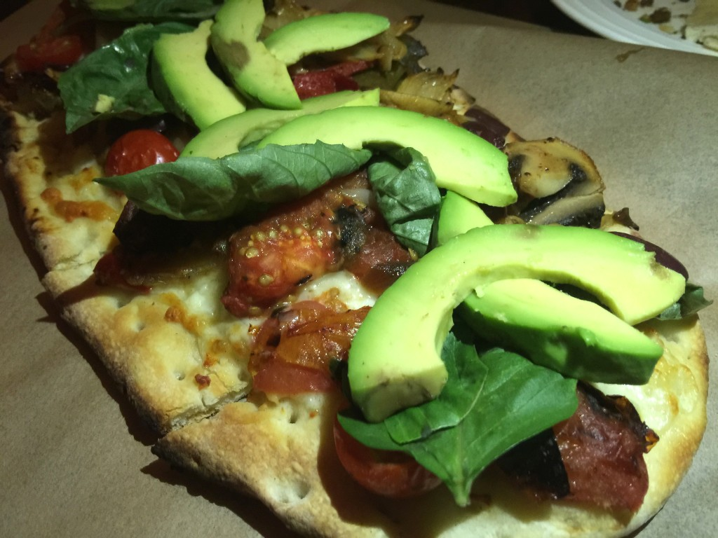 Vegetarian Flatbread with Eggplant, Basi, Cherry Tomato, Roasted Pepper, Kalamata Olives, Kashkaval Cheese, Mushroom and Avocado