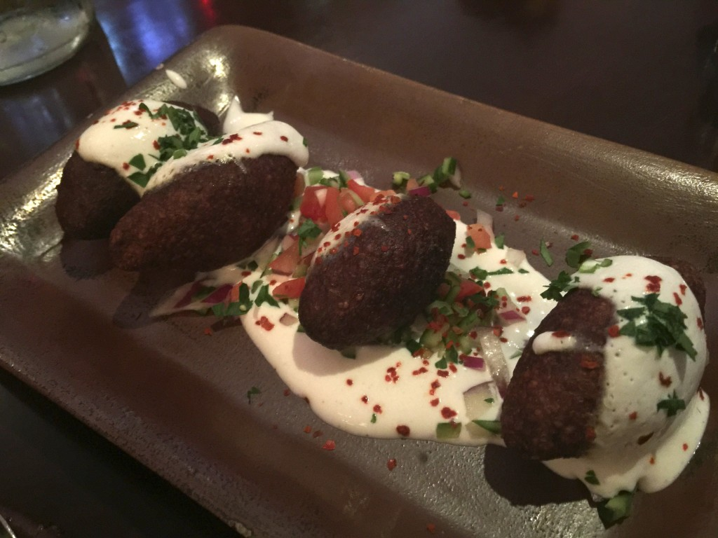 Beef Fried Kibbeh with Ground Beef, Bulgur, Onion, Pine Nuts and Greek Yogurt