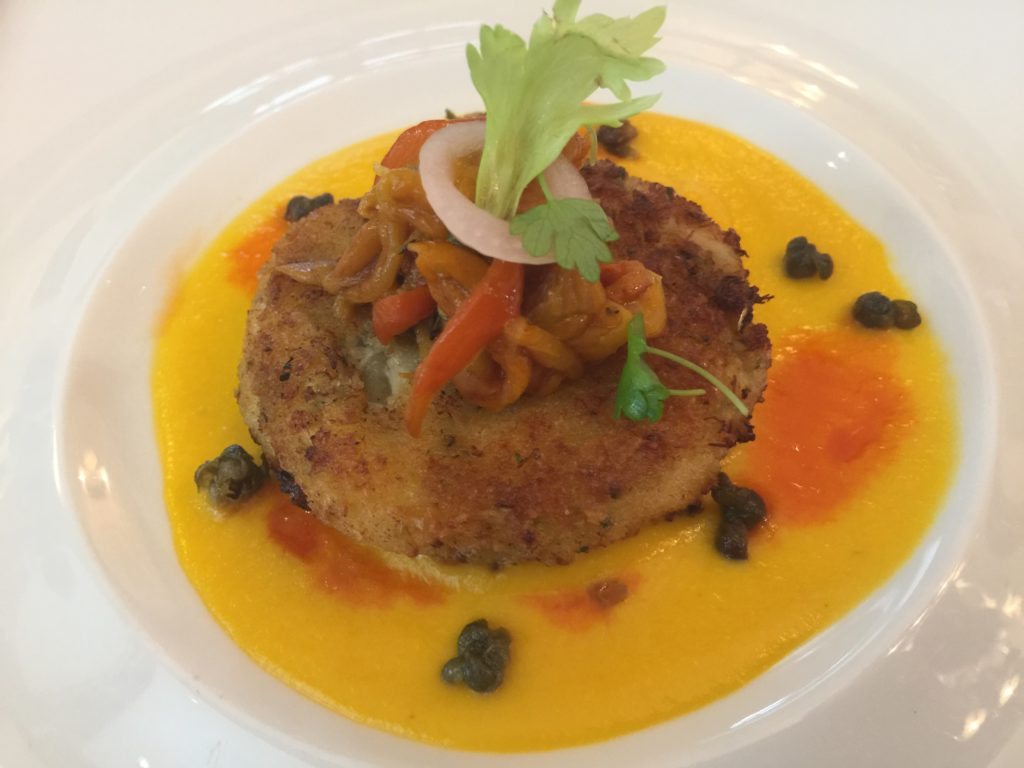 Wild Blue Crab Cake with Toy Box Pepper Ragout and Crispy Capers