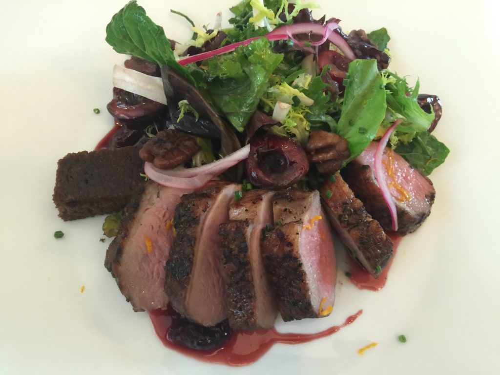 Smoked Duck Breast Salad with Baby Kale, Frisée, Pecan and Orange Cherry Vinaigrette