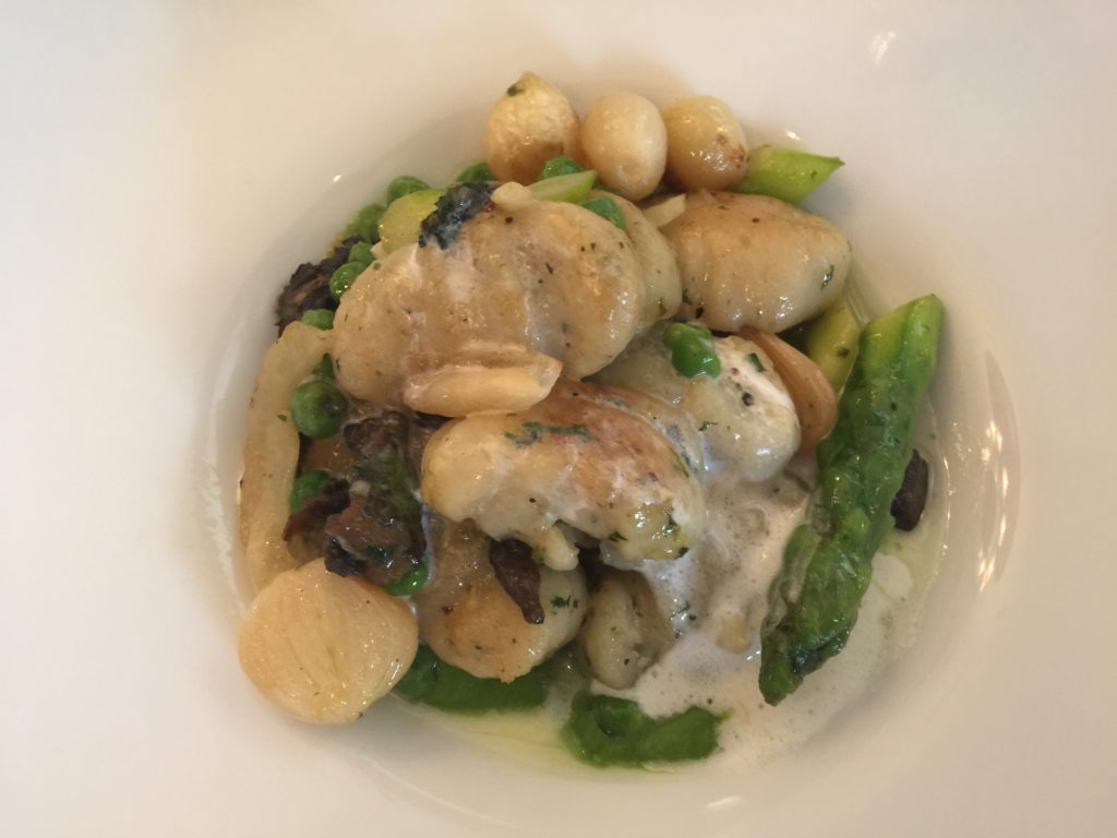 House-made Gnocci with Asparagus, Morel Mushrooms and Truffle Parmesan Spritz