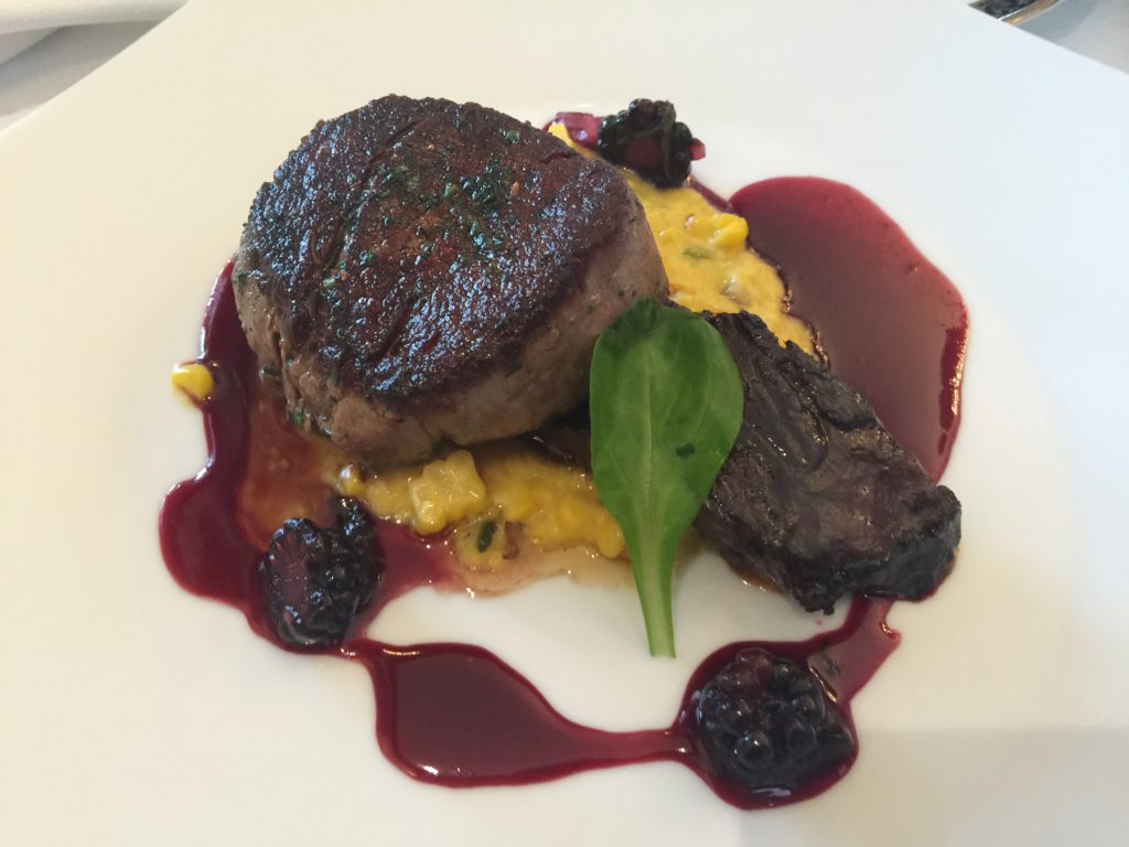 Filet Mignon with Blackberry Braised Beef Short Rib and Grilled Corn