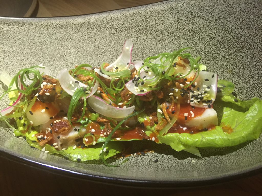 Hiramasa with Romaine, Korean Chili and Shishito Soy